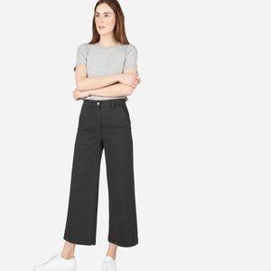 Gap Wide Leg High Rise Ankle Crop Black Chinos Sz2